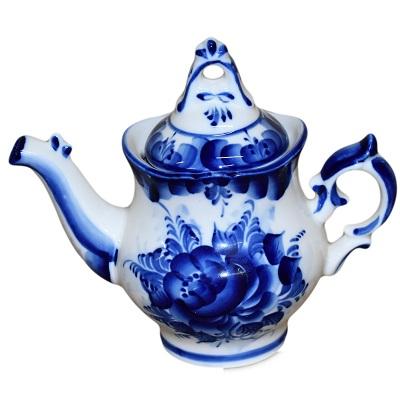 Фарфоровый чайник гжель