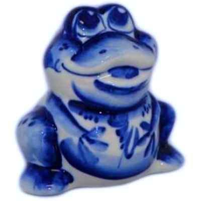 Статуэтка лягушка из фарфора с росписью гжель