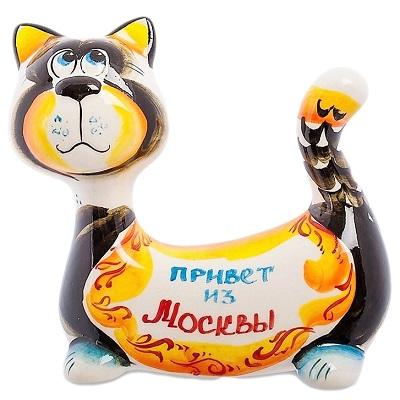 Кот из фарфора с надписью