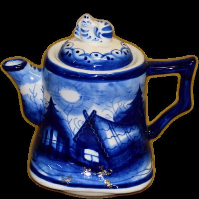 Гжельский чайник с пейзажем