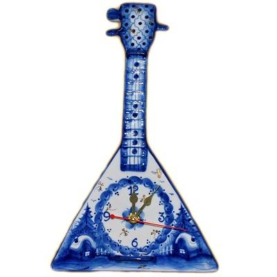 Часы с гжельской росписью