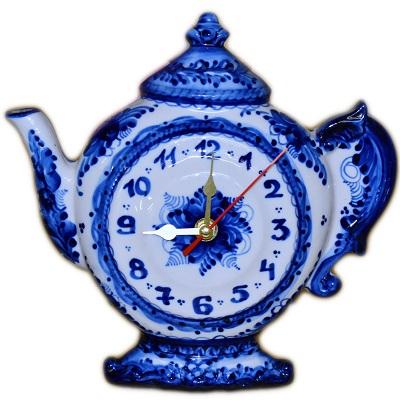Часы фарфор роспись гжель