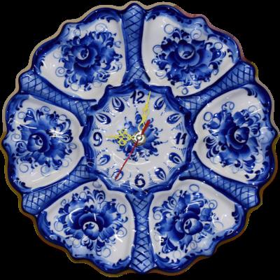 Часы, фарфор Гжели
