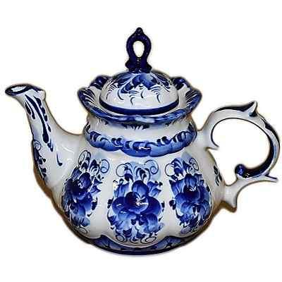 Чайник с росписью гжель