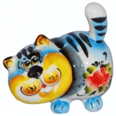 Кот фарфоровый цветная роспись