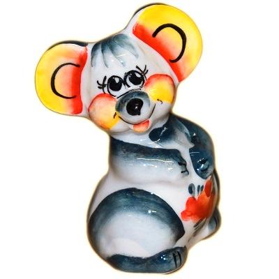 Цветная мышка из фарфора
