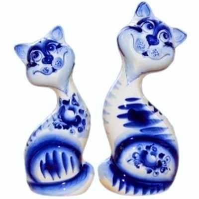 Пара гжельских котов