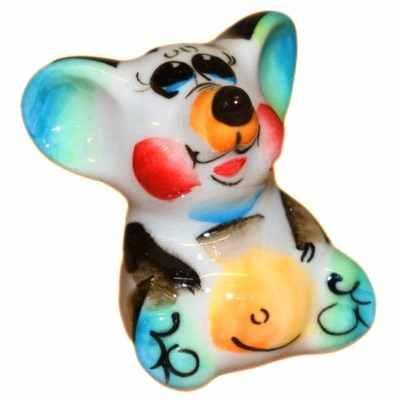 Фигурка мышка цветная фарфоровая