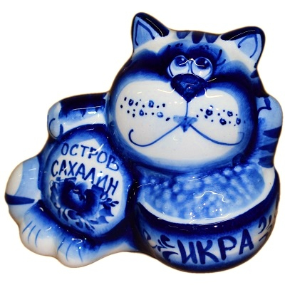 Гжельский кот с надписью