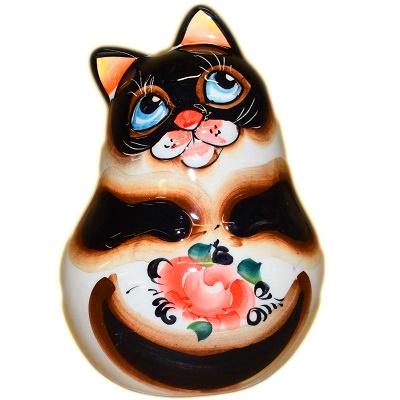 Кошка фарфоровая с цветной росписью