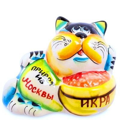 """Фарфоровый кот с надписью """"Привет из Москвы"""""""