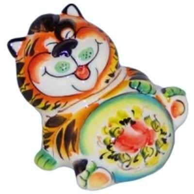 Фарфоровый кот с цветной росписью