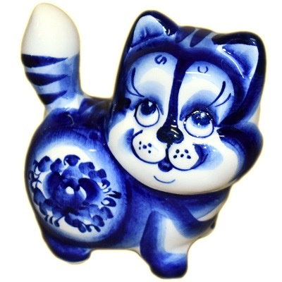 Фигурка кошки с гжельской росписью