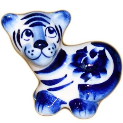 Гжельская фигурка тигра