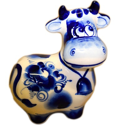 Корова с колокольчиком Гжель