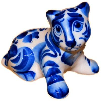Сувенир тигр роспись гжель