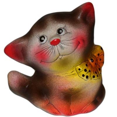 Керамический кот с бантом