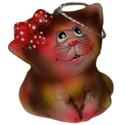 Кот с бантом керамический колокольчик