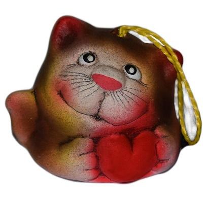 Котик с сердцем керамический