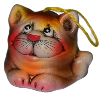 Керамический кот-колокольчик