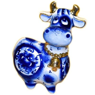 Корова гжель с золотом