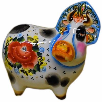 Корова-копилка цветная с позолотой
