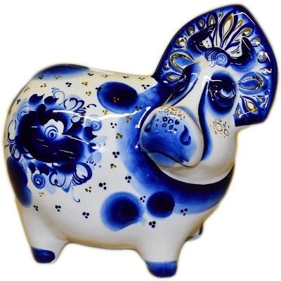 Корова-копилка гжель с позолотой
