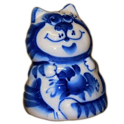 Гжельский фарфоровый кот
