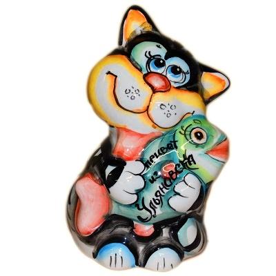 Фарфоровый  кот с надписью