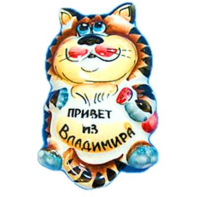 """Цветной кот магнит """"Привет из Владимира"""""""