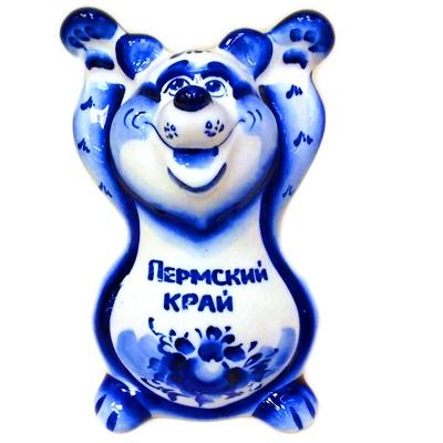"""Медведь гжель с надписью """"Пермский край"""""""