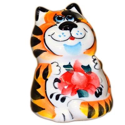 Цветной котик из фарфора