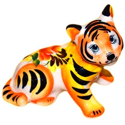 Тигр фарфоровый с росписью