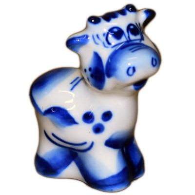Сувенир теленок с росписью Гжель
