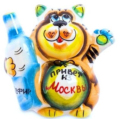Цветной фарфоровый кот с надписью