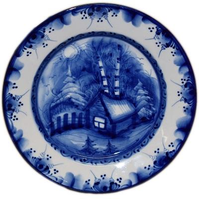 Тарелка  с пейзажем Гжель