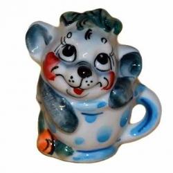 Мышка в чашке цветная 6.2 см., арт.2690