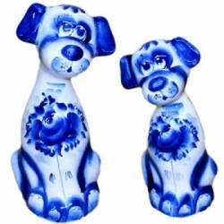 Пара собак гжель 19 см, арт 2038