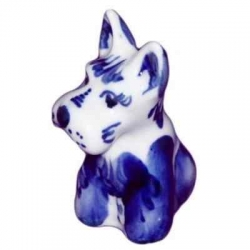 Собака гжель 6 см, арт 2028