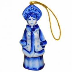 Елочная игрушка Снегурочка  гжель 11 см, арт.2705