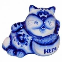 Кот гжель 13 см, арт 1051