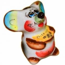 Фигурка фарфоровая мышка с сыром