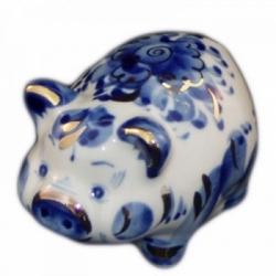 Свинка гжель с позолотой 8 см., арт.2559