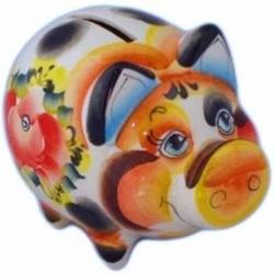 Свинка-копилка цветная, 13 см, арт 4055
