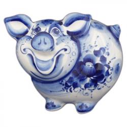 Свинья-копилка гжель 18 см., арт.2523