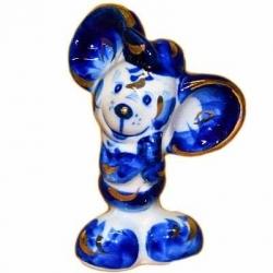 Мышь-мальчик гжель с золотом 9.5 см., арт.2666