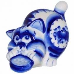 Кот гжель 13 см, арт 1079