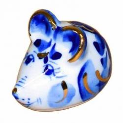 Мышка гжель с золотом 5.5 см., арт.2686