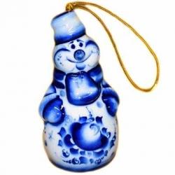 Елочная игрушка Снеговик гжель, 10 см, арт.2706