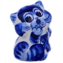 Кошка гжель  6.5 см, арт 1096